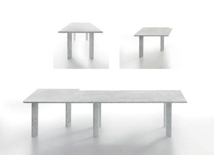 """Naoto Fukasawa: """"Agorà"""" (L 405 x W 405 x H 72, single table: L 200 x W 90 x H 72, angular element: L 102,5 x W 102,5 x H 72)."""