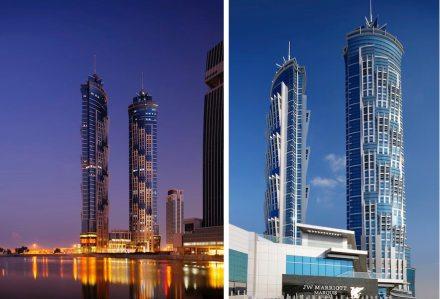 As torres gêmeas do hotel têm um formato marcante, que se assemelha a troncos de palmeiras. Fotos: Marriott