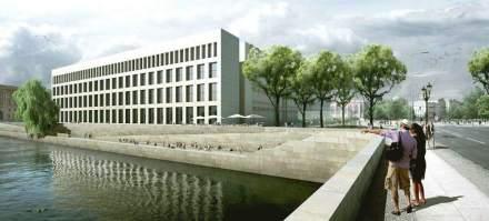 Das Humboldt Forum mit der modernen Fassade auf der Spreeseite.