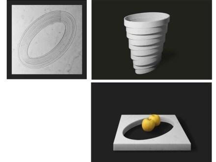 """Zum Beispiel für die Vase """"Gerla"""". Bei ihr werden konzentrische Ausschnitte gemacht, die dann übereinander gestapelt werden."""