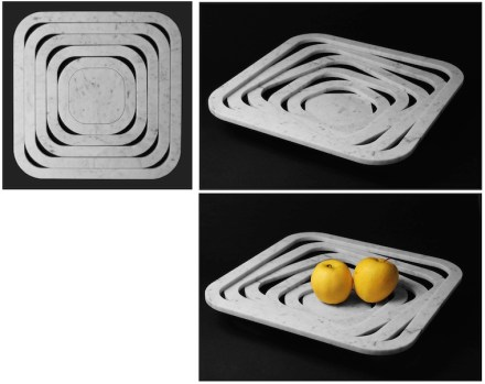 "Similar to the ""O-Ring"", here another fruit bowl, in which 1 cm-thick tiles are used."