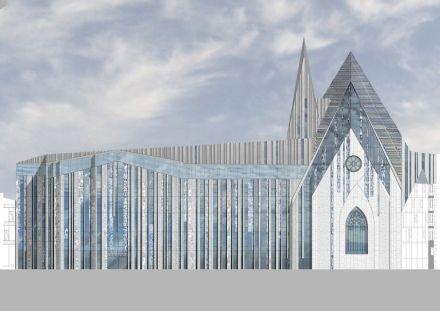 Erick van Egeraat: edificio dell'università di Lipsia, a sinistra l' Augusteum, in mezzo il Paulinum. Rendering: Erick van Egeraat