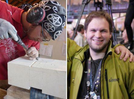 Zwei Silbermedaillen bei den Steinmetzen: Jeremia Bruckbauer aus Österreich (links) und Leon Mahnič (rechts) aus Slowenien. Foto: Bernhard Hasenöhrl / privat