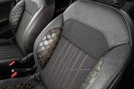 La piel curtida del pez Pirarucu se ha utilizado en los asientos y apoyabrazos.