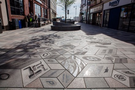3d Mosaic In Granite Pavement On The Isle Of Man Stone