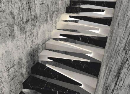 "1. Prize, Professional category: ""Tırnak"", Salih Saygın DEREN. Stairwell with unusual steps."