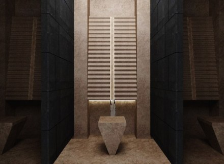 """2. Prize, Students' category: """"Kaynak"""", Ufuk PEHLIVAN. Prayer-room for a shopping center or hotel: ritual washing area."""