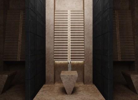 """2. Preis, Kategorie Studenten: """"Kaynak"""", Ufuk PEHLIVAN. Gebetsraum für ein Shopping Center oder ein Hotel: Bereich für die rituellen Waschungen."""