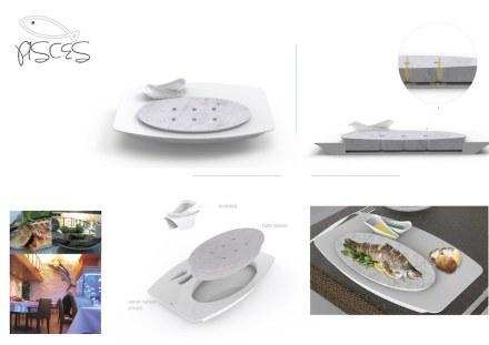 """Honorable mention, Students' category: """"Pisces"""", Aslı ERKUN, Rezzan UÇAR, Ceren KIRAZ, Betül ERTAN. Table setting for serving fish."""
