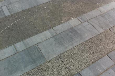 Three shades of paving can be distinguished, all of which ensue as a result of their different surface finishes.