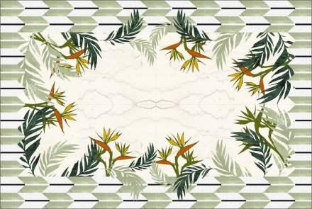 "Citco-Privé: ""Sterlizia"". Product: marble carpet. Measures: 443x297 cm. Material: Statuarietto, Verde Antigua, Irish Green, Verde Issorie, Nero Belgio, Onice Orange, Rosso Damasco, Bianco Sivec."