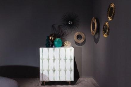 """Citco-Privé: """"Pigalle"""". Product: cabinet. Measures: 108x71px120h cm. Material: Bianco Statuario, satin brass details."""