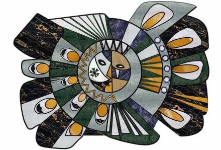 """Citco-Privé: """"Radieuse"""". Product: Cut out marble carpet. Measures: 440x332 cm. Material: Nero Portoro, Verde Antigua, Verde Guatemala, Nero Belgio, Onice Orange, Bianco di Covelano, Bianco Sivec, Pure White, Sodalite Blue, Zarda Gold, Bianco Statuario."""