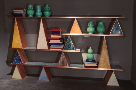"Citco-Privé: ""Giza"". Product: bookshelf. Measures: 300x172hx32d cm. Material: polychrome marbles, satin copper outlines."