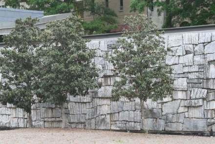 Entre os arquitetos, já é prática estabelecida deixar nas rochas as marcas de sua extração ou processamento, em vez de lixá-las. Foto de Atlanta, EUA.