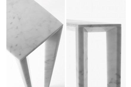 Incomuns aqui são os pés das mesas. Eles seguem o modelo dos sapatos femininos de salto alto.