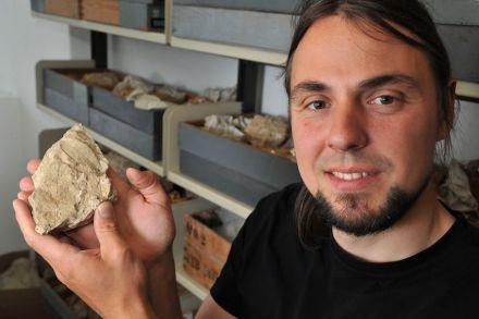 Dr. Volker Neubeck von der Universität Jena untersucht die Gesteinsfunde von Bilzingsleben. Foto: Anne Günther/FSU