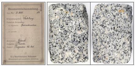 Granit aus Pregarten (Oberösterreich) verwendet als Dekorstein in Salzburg, 1886 katalogisiert. Foto: Naturhistorisches Museum