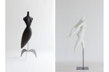 "Left: ""Birdland"", 1988. Ruben Toledo, designer. Pucci Mannequins, fabricator. Fiberglass, 74 x 28 x 34 in. (188 x 71.1 x 86.4 cm). Right: ""Movement"", 1993, Ruben Toledo, designer. Pucci Mannequins, fabricator. Fiberglass, 69 x 28 x 27 in. (175.3 x 71.1 x 68.6 cm). Collection of Ralph Pucci. Photo: Antoine Bootz"