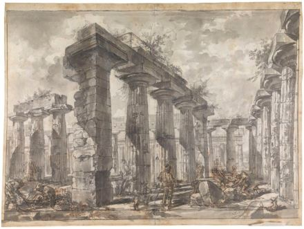 Interior of the Basilica from the South, 1777. Red and black chalk, pencil, brown and grey washes, pen and ink. Sir John Soane's Museum