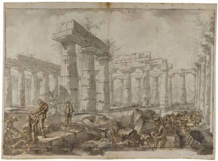 Basilica, View of the Interior from the West, 1777. Black and red chalk, pencil, brown and grey washes, pen and ink. Sir John Soane's Museum.