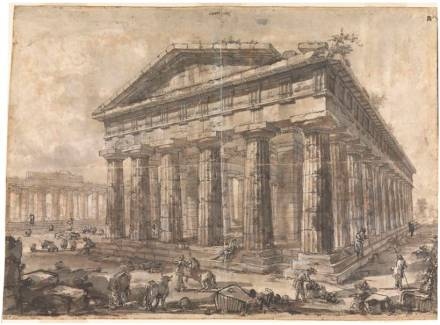 Exterior of the Temple of Neptune from the North-East, 1777. Red chalk, pencil, brown and grey washes, pen and ink, white highlights. Sir John Soane's Museum.