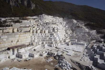 Stone Group International's quarry of white Pirgon marble is by far the biggest quarry in the European Union. Photos: Stone Group International