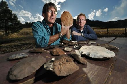 Douglas Bamforth, Anthropology professor for the University of Colorado at Boulder, left, and Patrick Mahaffy, show a portion of more than 80 stone age artifacts.