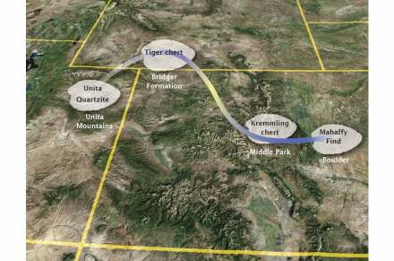 The map shows the likely route of the ancient tools from northeast Utah to the modern day city limits of Boulder. Image by Douglas Bamforth, Anthropology professor for the University of Colorado at Boulder.