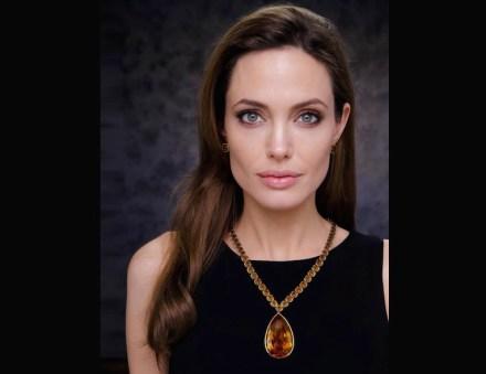 "Angelina Jolie Pitt wearing her ""Jolie Citrine Necklace""."