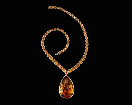 """Yellow quartz and gold in the """"Jolie Citrine Necklace""""."""
