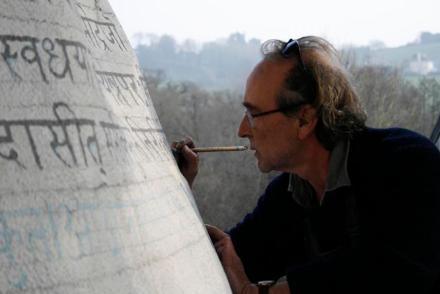 Peter Randall-Page working on the sculpture in his studio. Photo: Aislinn McNamara