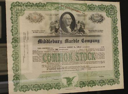 Titolo azionario della Middlebury Marble Company dello stato federale USA del Massachussetts (1922).