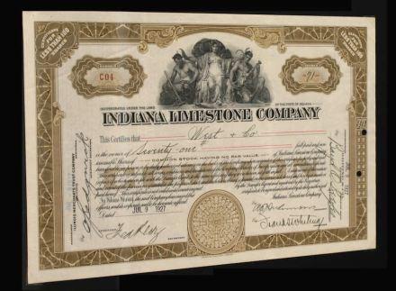 Titolo azionario della ditta americana Indiana Limestone (1927).