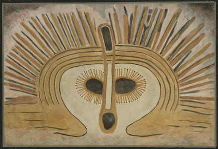 """Wandjina"", Australien, Kimberley, Mount Hann, nach 1800 v.Chr., Aquarell von Douglas C.Fox, 1938, 73 x 108,5 cm."
