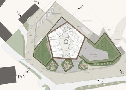 L'edificio stesso ha la forma di un pentagono. Fonte: Grassi Pietre