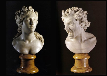 "Gian Lorenzo Bernini: ""Anima beata"" (left), ""Anima dannata"" (right). Source: Wikimedia Commons"