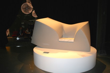 ... and reversed, foam-rubber couch with marble seating. Via Tortona.