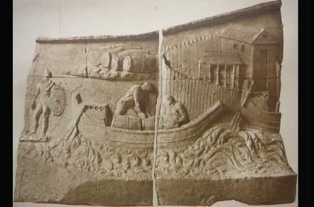 Um soldado romano fiscaliza em um controle de fronteira o comércio no rio Danúbio.
