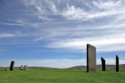 The great stone circle, Stenness on the Isle of Orkney, is situated in a ,reverse' landscape. The project examined the alignments running from the center of circle through the stones on the circle's perimeter and the stone holes where stones formally stood (as revealed by excavation). This told them that the stone furthest to the right is oriented upon the last glimmer of a southern Moon occurring only every 18.6 years; the second stone is aligned towards the winter solstice sunset and the stone furthest to our left is aligned to the Moon as it sets into its most northern position every 18.6 years. These are astronomical events that could be seen 5000 years ago. Photo: Douglas Scott.