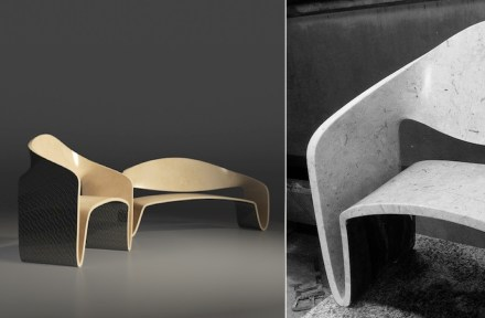 """Möbius"" chair and sofa by Giuseppe Fallacara for MGM Sicilmarmi."