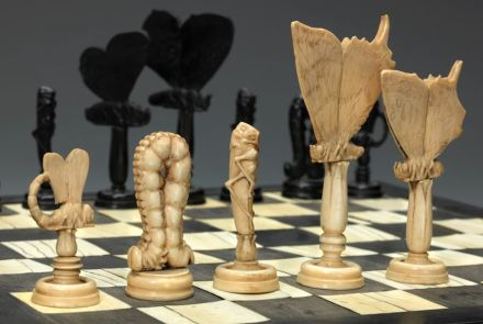 Butterflies and Insects Chess Set and Board, c. 1790. Italy. Ivory and ebony. Collection of Dr. George and Vivian Dean.