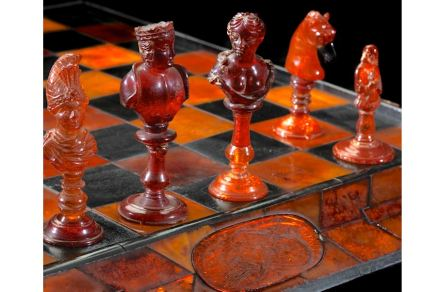 Catherine the Great Chess Set, late 1700s. Russia. Amber and ebony. Collection of Dr. George and Vivian Dean.