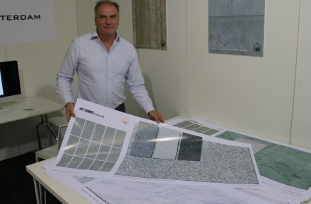 """<a href=""""http://www.tvorotterdam.nl""""target=""""_blank"""">TVO Rotterdam</a> company produces the data sets used to print the stone images on the ingot. After that, the tile is glazed and kilned."""