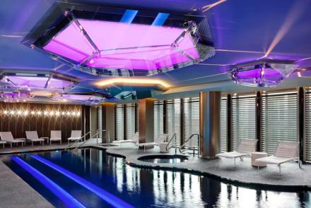 """Piva emulated a dripstone cave to accommodate the pool according to press reports. He created a """"feeling of magic and wellbeing"""" accessible to the public."""