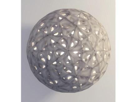 Auf den 1. Blick scheint es sich um eine Lampe zu handeln, deren Oberfläche aus Steinquadern zusammengesetzt ist. Gemeint ist das Objekt jedoch als Prototyp für ein Gewölbe, das sich weit aufspannen lässt.
