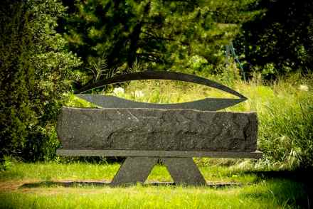 "Elyn Zimmerman, ""XX"", 1996, granite, 56.5 x 94.5 x 30 inches, Collection of the Telfair Museum of Art, Savannah, GA, Gift of the Artist, Photo: Ken Ek."
