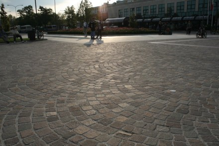 Verona has level cobblestones paving the recently refurbished public area in front of the Porta Nova Central Station.