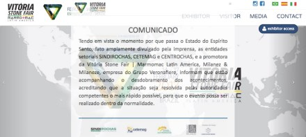 Webpage of Vitória Stone Fair on February 09, 2017.