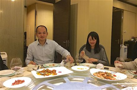 Farewell-dinner with Lai Guoxiang, General Manager of the fair, and Christabel Zang from the fair team. Photo: Reiner Krug